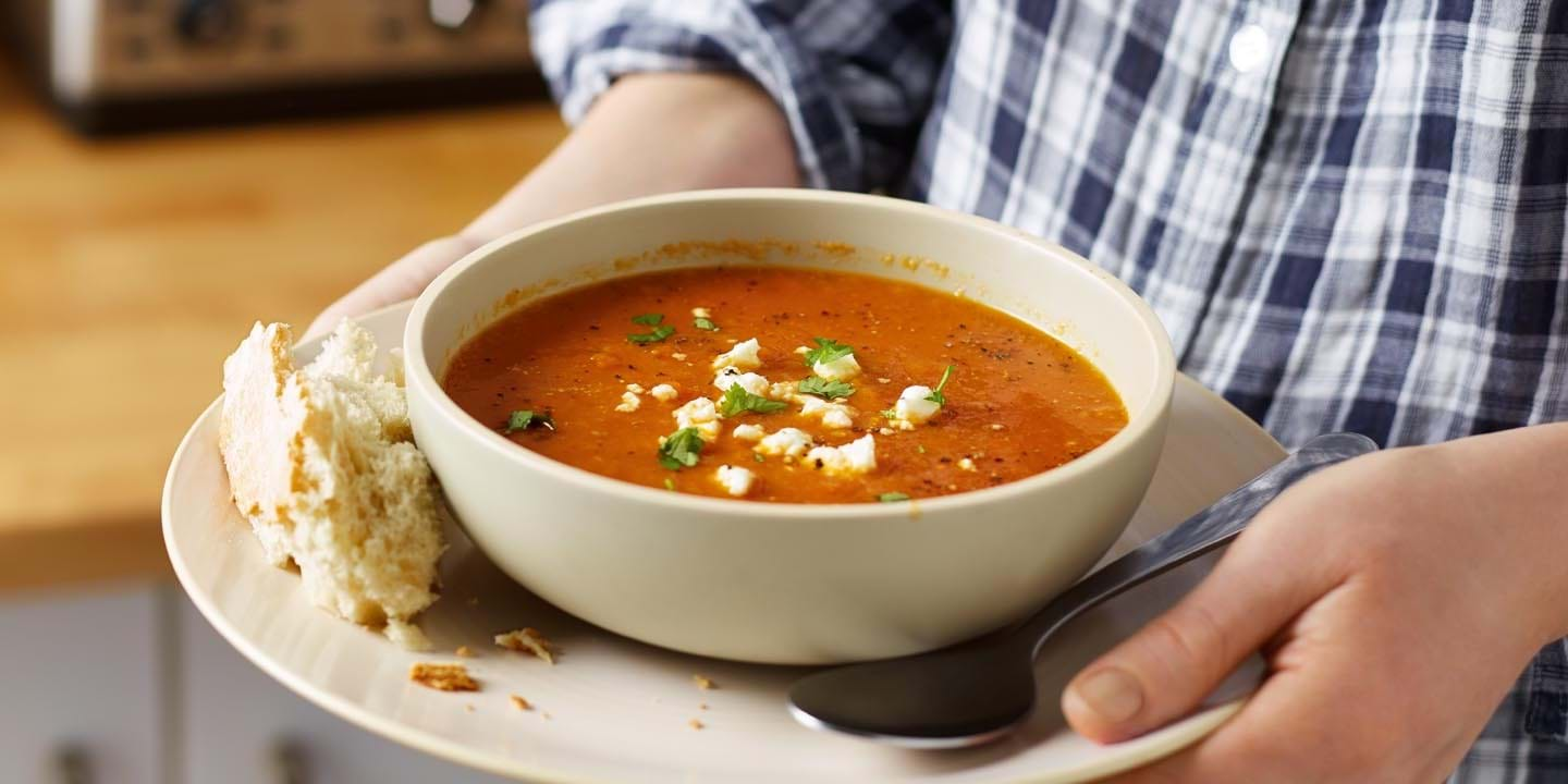 Carrot and cumin soup with feta