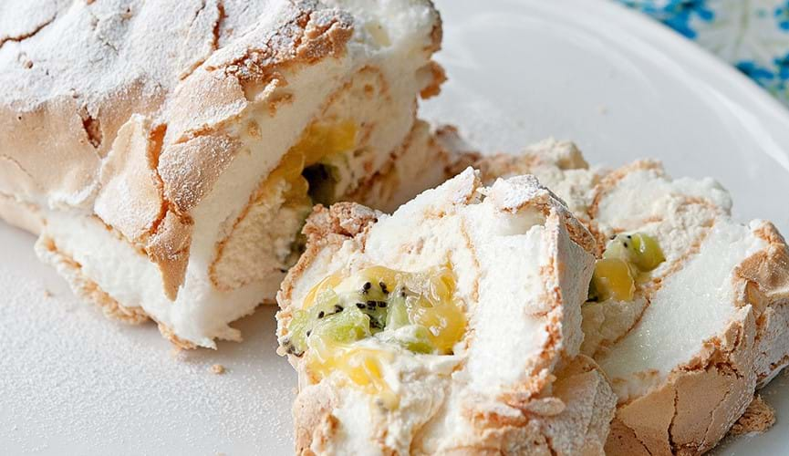 Zesty meringue roulade