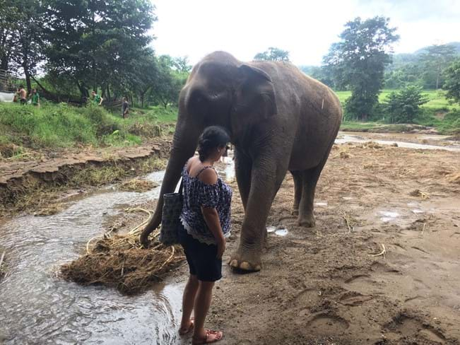Carmen with an elephant on holiday in Thailand
