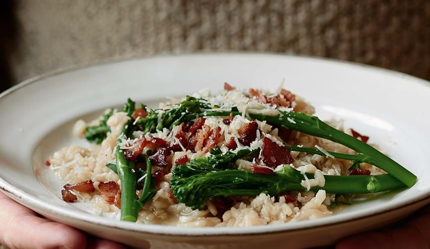 Bacon and broccoli risotto