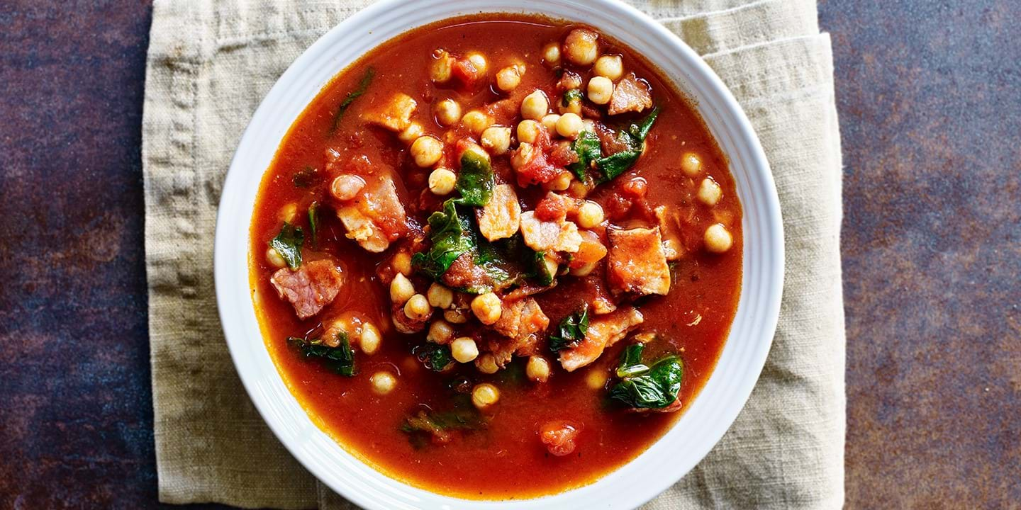 Bacon and chickpea stew