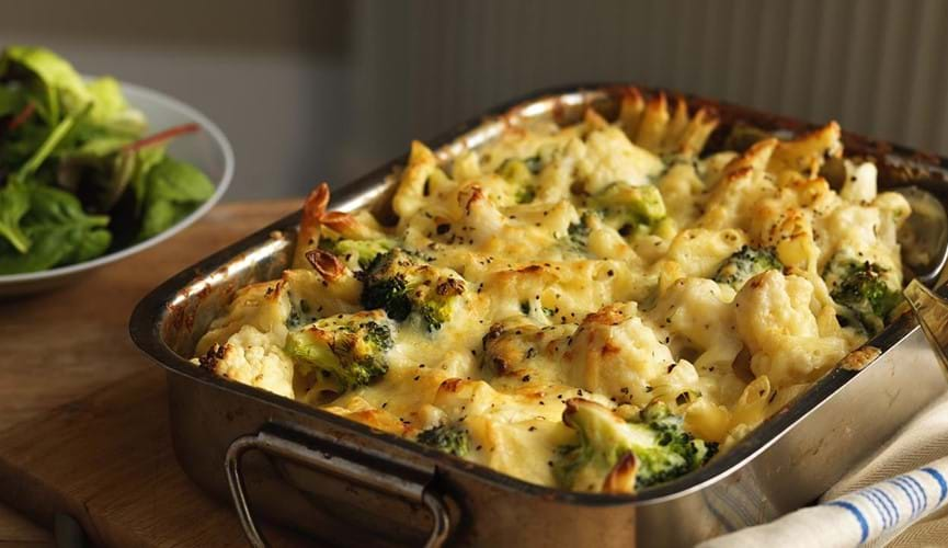 Cauliflower and broccoli cheese bake