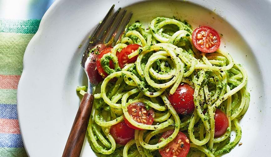 Kale and broccoli pesto spaghetti