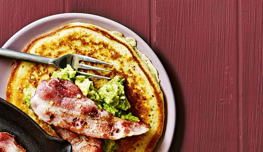 Chilli and candied bacon pancakes