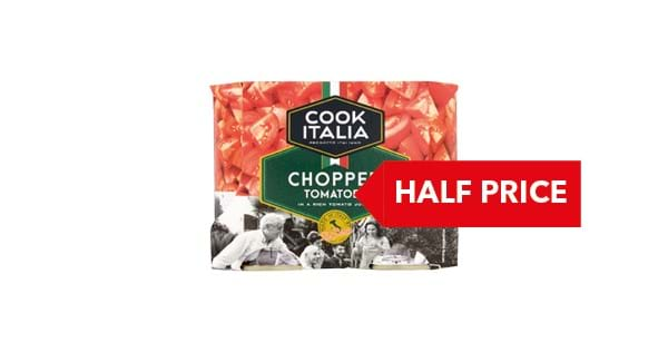 HALF PRICE| Cook Italian Chopped Tomatoes 4 x 400g
