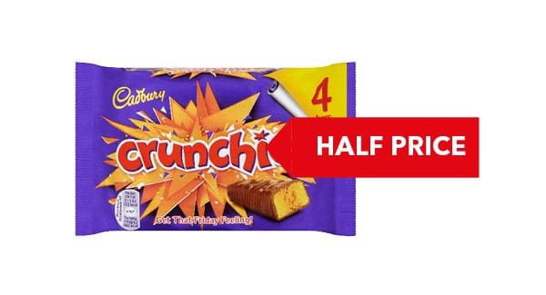 HALF PRICE | Cadbury Crunchie/Wispa/Double Decker/Twirl 4PK