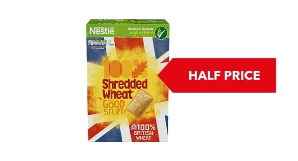 HALF PRICE | Nestlé Shredded Wheat Wholegrain CerealBiscuits