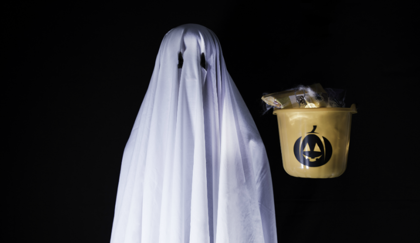Graham Ghost and his levitating trick or treat bucket