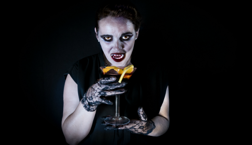 Val Vampire with her Halloween tipple