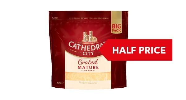 HALF PRICE | Cathedral City Grated Mature Cheddar 320g