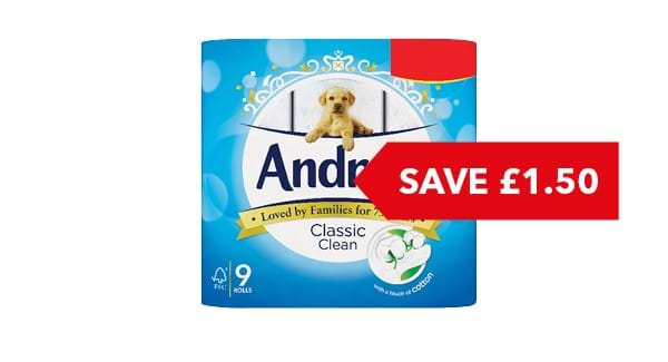 SAVE £1.50 | Andrex Toilet Tissue 9 Roll
