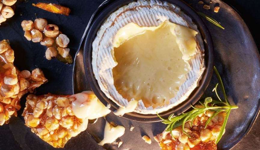 Oozy camembert with nut brittle