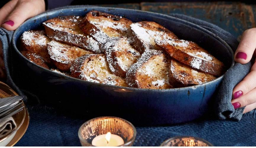 Overnight christmassy sourdough French toast