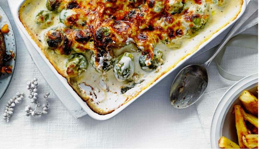 Creamy Brussels sprout bake
