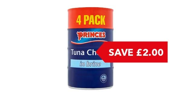 SAVE £2  | Princes Tuna Chunks in Brine / Sunflower Oil