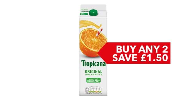 BUY ANY 2 SAVE £1.50 | Tropicana 850ml / 950ml