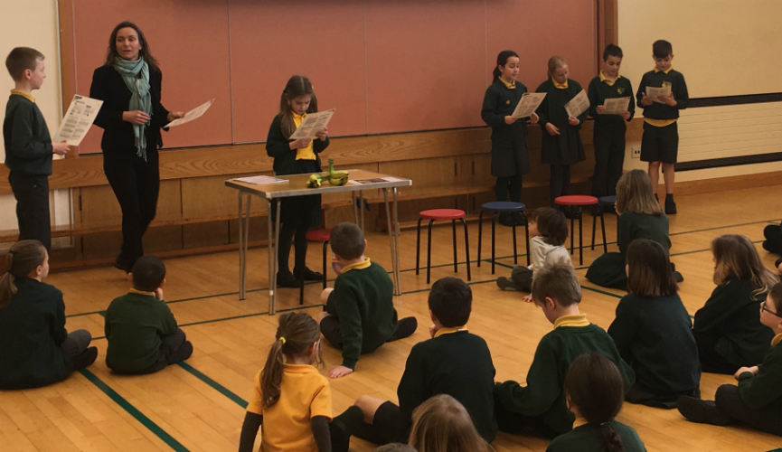 Tanya Dorrity gives a Fairtrade Assembly at Forest Primary School in Guernsey