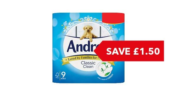 SAVE £1.50 | Andrex Toilet Roll 9 Roll