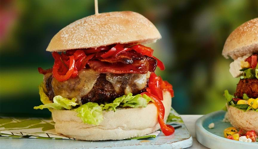 Red pepper relish and maple bacon burger