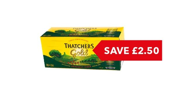 SAVE £2.50 | Thatchers Gold Can 10x440ml
