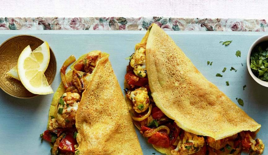 Indian style pancakes with masala veggies
