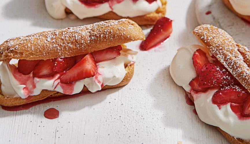 Strawberry and gin eclairs