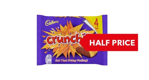 HALF PRICE | Cadburys Crunchie 4 Pack