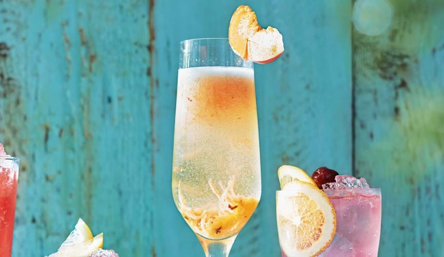 Peach, prosecco and thyme bellini