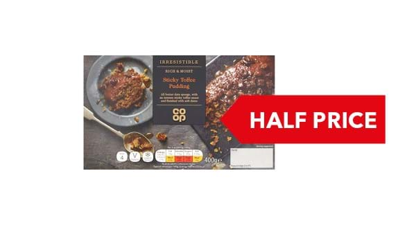 HALF PRICE | Co-op Irresistible Sticky Toffee Pudding 400g