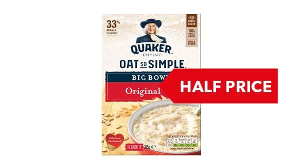 HALF PRICE | Quaker Oats So Simple Sachets 360g/385g