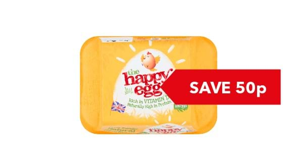 SAVE 50p | Happy Eggs Large Free Range 6s