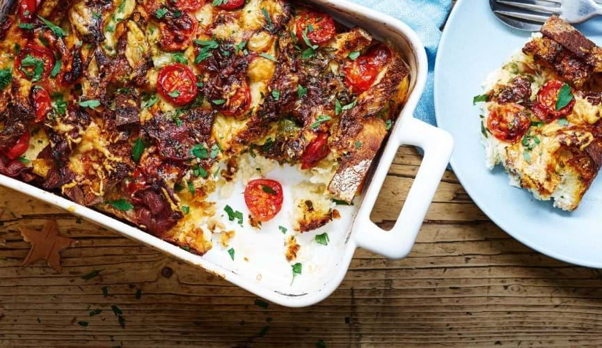 Cheese and bacon sourdough bread pudding