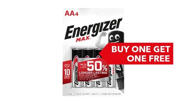 BUY ONE GET ONE FREE | Energizer Max AA/AAA 4 Pack