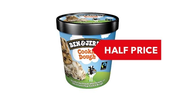 HALF PRICE |  Ben & Jerry's Ice Cream 465ml - 500ml