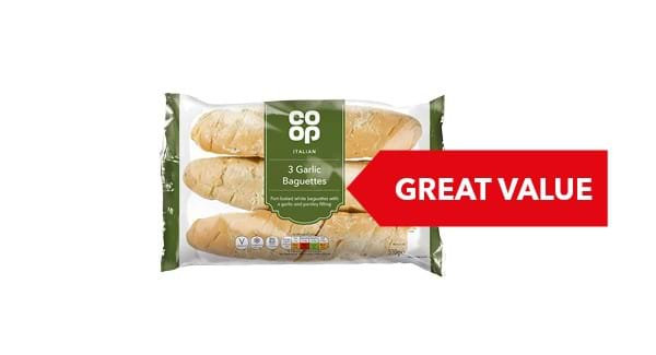 GREAT VALUE | Co-op Garlic Baguette Triple Pack 510g