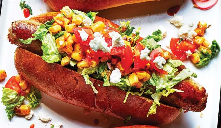 Mexican corn hot dog toppings
