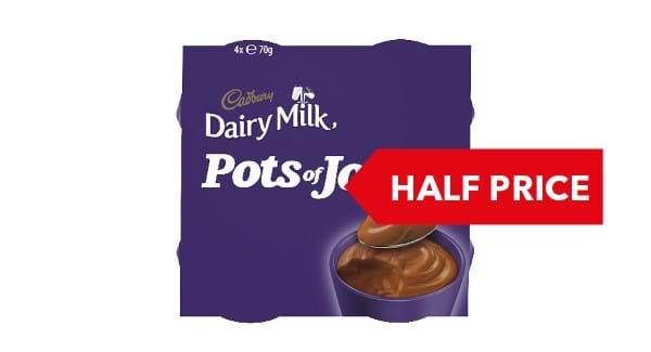 HALF PRICE | Cadbury Pots of Joy 4x65g/4x70g