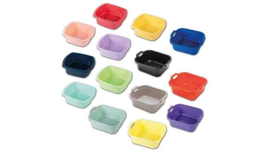 Coloured washing up bowls