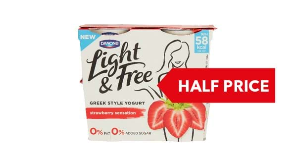 HALF PRICE |  Danone Light & Free Yogurt 4x115g